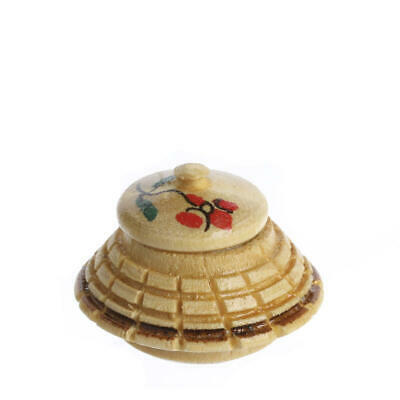 Factory Direct Craft Dollhouse Miniature Antique Asian Wood Pot with Lid