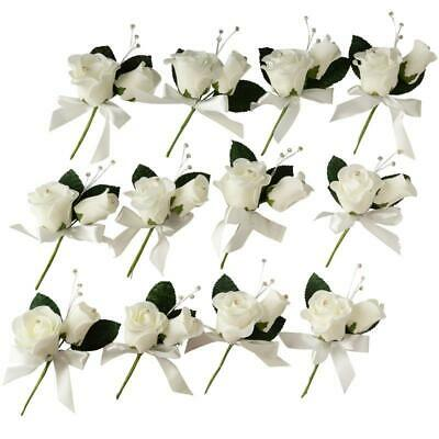 Factory Direct Craft Ivory Foam Rose Boutonniere Picks | 12 Pieces