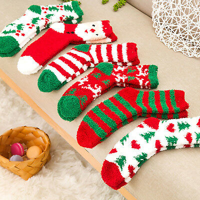 Christmas Girls Boys Fluffy Soft Socks Winter Bed Kids Xmas Gifts Cute Stockings