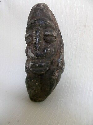 Antique Hand Carved Stone Fetish Carving Figural Big Head Fetal Position