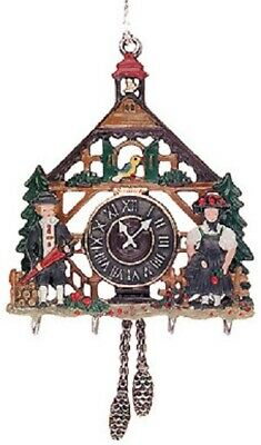 3D Cuckoo Clock German Pewter Christmas Ornament Decoration Made in Germany