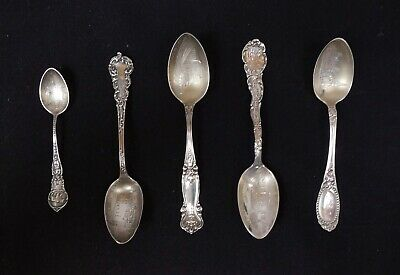 Antique Lot 5 Sterling Silver Engraved Bowl American Souvenir Spoons NY CA KY GA