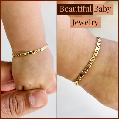 Newborn Baby/Childrens Boys/Girls Gold Filled Bracelet, Pulsera Para Bebe Niñas