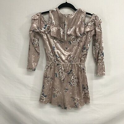 Speechless Girls Crushed Velvet Romper Size L Pink Floral Print Cold Shoulder