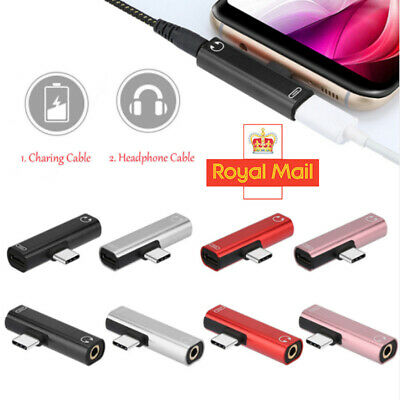 USB Type C to 3.5 mm Headphone Jack Adapter AUX Cable 2 in1 Audio Convertor
