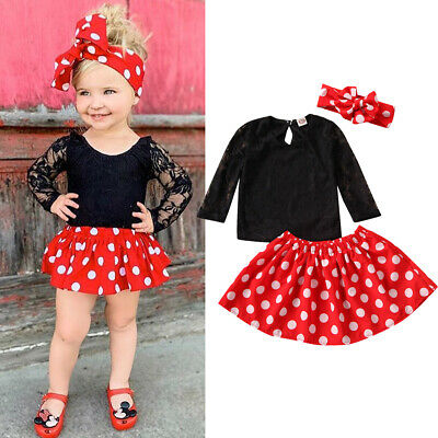 3pcs Toddler Kids Baby Girls Clothes Lace T-Shirt Tops+Dress Skirt Outfits Set