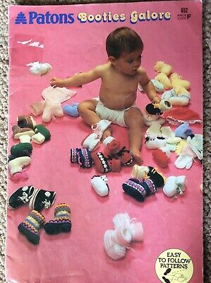 Vintage Patons Baby Knitting & Crochet Pattern Book 652 Booties Galore