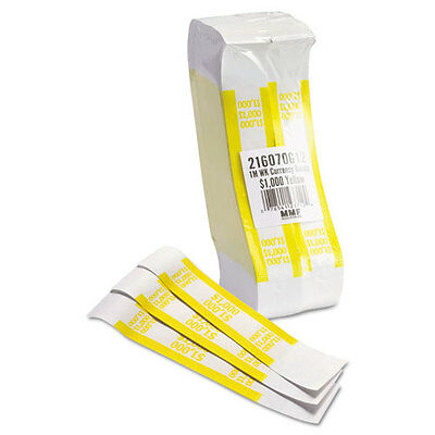Self-Adhesive Currency Straps, Yellow, in Bills, 1000 Bands/Pack