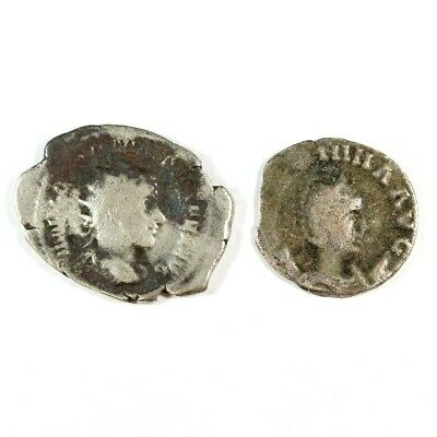 Two (2) Uncleaned Silver Ancient Roman Coins c100 - 375 AD Exact Lot Shown 3423