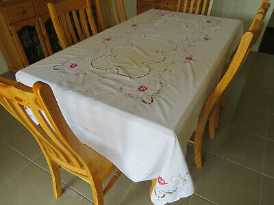 Gorgeous Large White Table Cloth with Embroidered Roses and drawn work...