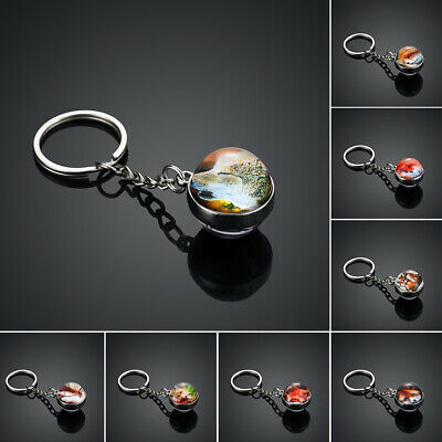 Christmas Gift Fox Pattern Keychain Glass Ball Double Side Cabochon Keyrings