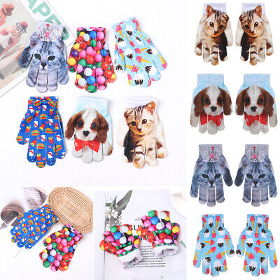 1Pair Kids Gift Winter Fashion Warm Kitty Pet 3D Animal Print Knitted Gloves