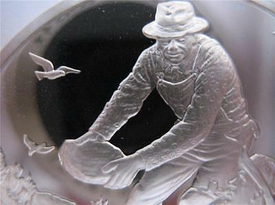 1-Oz .925 Sterling Silver Coin Norman Rockwell Robert Frost Mending Wall + Gold