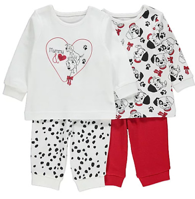 New In Packet George Disney Pack of 2 Mix & Match 101 Dalmatians Pyjamas 2-3yrs