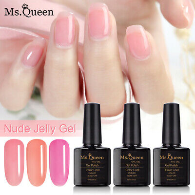 Ms Queen Nude Jelly Gel Nail Polish Base No Wipe Top Coat Varnish Lacquer