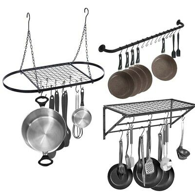 Pot And Pan Rack For Ceiling With 10 Hooks Decorative Oval Mounted Storage Rack