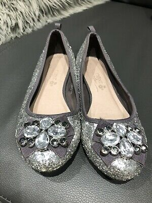 Girls Next Shoes Grey Silver Glittery Size 1 Great Condition Christmas Party