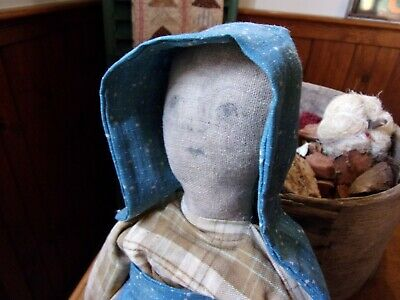 Primitive cloth doll made from antique textiles!!!