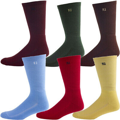6 PACK - FootJoy Mens ProDry Crew Fashion Golf Socks 1 Pair Of Each Colour
