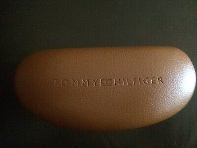 Tommy Hilfiger Glasses Case, Tan Brown w Logo, sturdy and slightly bigger, NEW