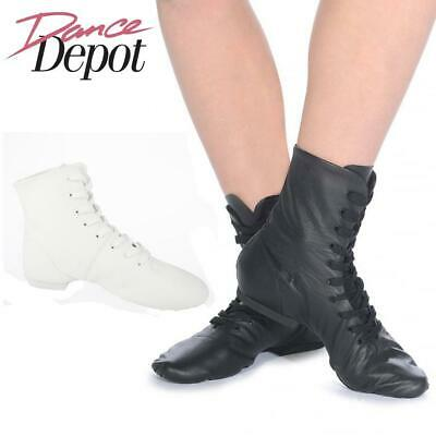 Dance Depot Womens Split Sole Jazz Boots Black or White