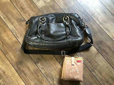 Storksak Elizabeth Nappy Changing Bag  Luxury Black Leather