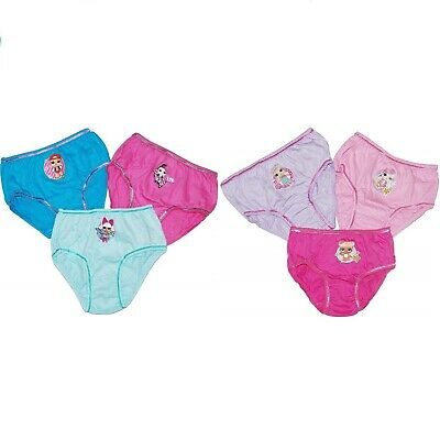 3 Pairs Girls LOL Surprise Knickers Pants Size Age 4-5 / 5-6 / 7-8 / 9-10 Years
