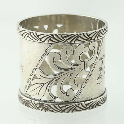 Engraved Antique Napkin Ring Sterling Silver 264 Whiting Pierced Floral Hallmark