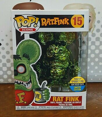 Funko Pop! Icons - Rat Fink (Green Chrome) SDCC 2019 Toy Tokyo Exclusive  *MINT*