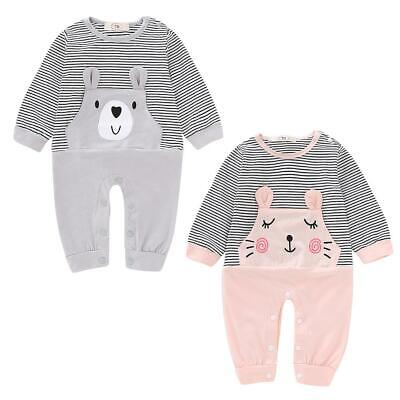 Lovely Autumn Baby Boys Girls Rompers Long Sleeve Striped Cartoon Jumpsuits #F8s