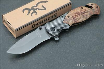New Pocket Knife Browning X50 Tactical Folding Steel Blade Wood Tool With box