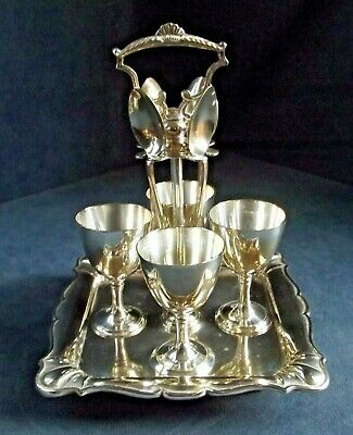 SMART ~ SILVER Plate ~ 9 Piece ~ EGG Cup Breakfast SET ~ c1910 by Joseph Ridge