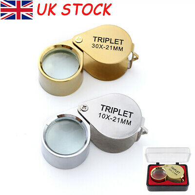 Pocket 10X 30X Magnifier Jeweller Jewelry Eye Glass Loop Lens Magnifying Loupe