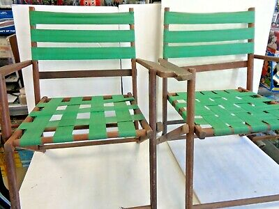 """2 Vintage Wooden Webbed Folding Deck Lawn Chairs, 29"""" Tall, 21 1/2"""" Wide,"""