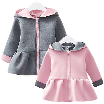 Kids Girls Hooded Coat Winter Hoodies Swing Jacket Outwear Winter Outfit Tops