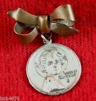 Victorian Era Religious Medal Christ Child Light Of The World Brass Bow Trosby