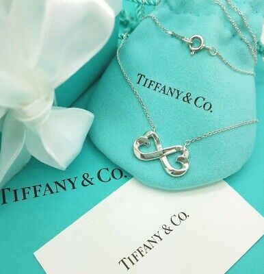 """Tiffany & Co Silver Paloma Picasso Infinity Double Loving Heart Necklace 16"""""""