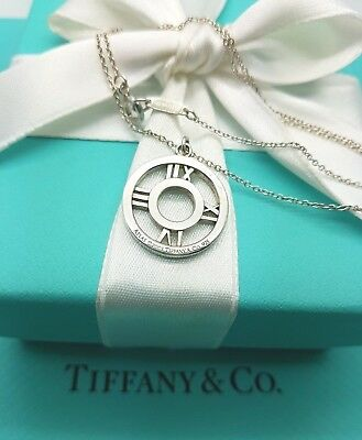 Tiffany & Co Sterling Silver Pierced Atlas Round Circle Pendant Necklace 16""
