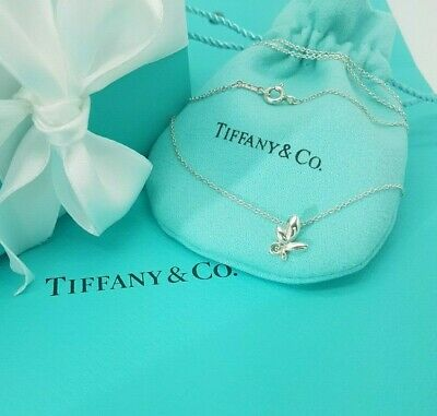 """Tiffany & Co Sterling Silver Paloma Picasso Olive Leaf Pendant Necklace 16"""""""