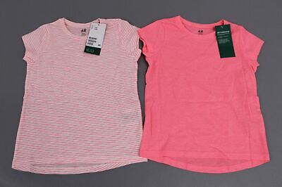 H&M Girl's Set Of Two Crew Neck Short Sleeve T-Shirt NB7 Neon Pink Size 4-6Y NWT