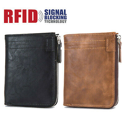 RFID Blocking Men's Leather Zipper Closure Pocket ID Card Holder Security Wallet