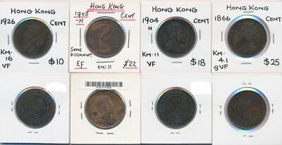 Hong Kong 1866-1926 Queen Victoria to George V 1 Cent Coin Collection (4 Coins)