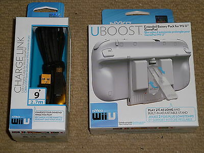 NINTENDO WII U GAMEPAD EXTENDED BATTERY PACK & USB CHARGING CABLE 2x Power NEW!