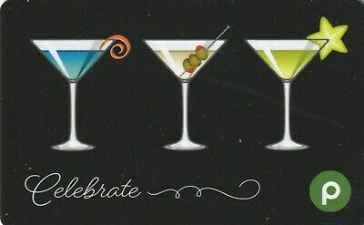 Publix Supermarket Celebrate Martini Trio Drinks Glasses 2019 Gift Card