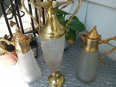 Antique ITaly 17in Crystal Cut Glass & Brass  Decanter Wine Pitcher & 12in Pair