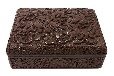 Old Chinese Carved Brown Lacquer Box China Gold Da Qing Qianlong Nian Zhi Mark