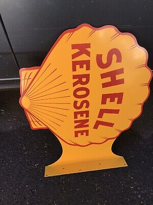 Rare NOS Shell Kerosene Double Sided Painted Metal Flange Sign 1940's-50's
