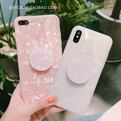 Design for Galaxy S9 S10 S8 S7 Marble Case With Pop Up Holder Socket Relief UK