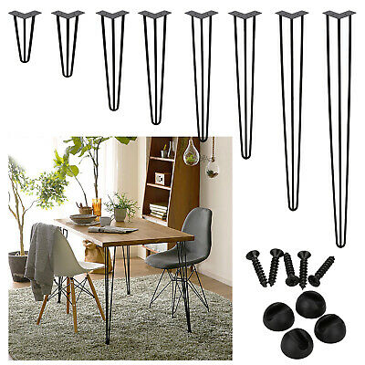 4X Premium Hairpin Legs Table Coffee Leg 3 ROD Steel Protector Feet Bench Desk