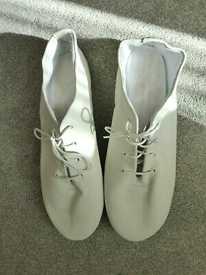 Dance Depot Jazz shoes, white, leather, size 12